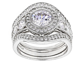 White Cubic Zirconia Rhodium Over Sterling Silver Ring With Bands 3.81ctw