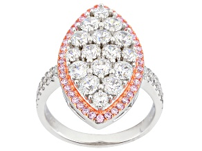 Pre-Owned Pink And White Cubic Zirconia Rhodium And 14k Rg Over Sterling Silver Ring 3.71ctw