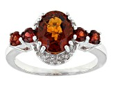 Pre-Owned Red Hessonite Garnet Sterling Silver Ring 2.32ctw