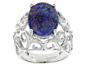 Pre-Owned Multicolor Coober Pedy Opal Triplet Sterling Silver Ring