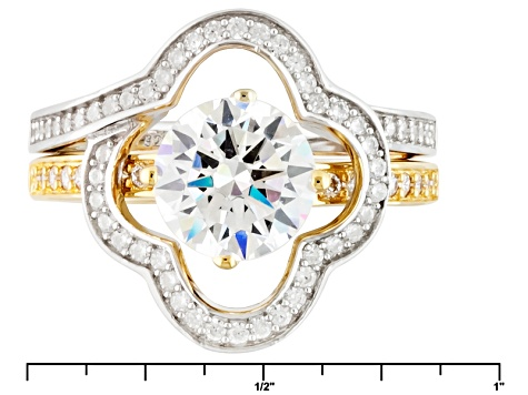 Cubic Zirconia Silver And 18k Yellow Gold Over Silver Ring With Guard 2.89ctw