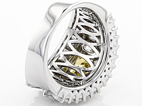 Yellow And White Diamond Simulants Rhodium Over Sterling Silver Ring 8.32ctw