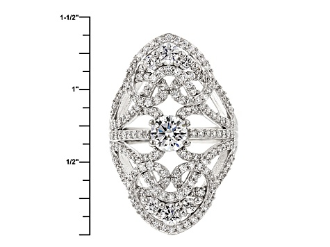 Pre-Owned Cubic Zirconia Silver And 18k Rose Gold Over Silver Ring 4.95ctw