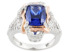 Pre-Owned Blue And White Cubic Zirconia Sterling Silver & 18k Rose Gold Over Silver Ring 6.05ctw