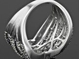 Pre-Owned Diamond Rhodium Over Sterling Silver Ring .65ctw