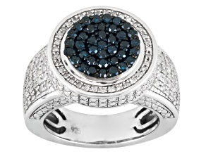 Blue And White Diamond Sterling Silver Ring 1.00ctw