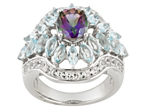 Green Mystic® Topaz Sterling Silver Ring 3.62ctw.