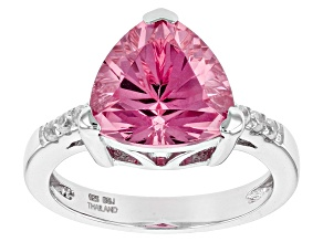 Pink Lab Created Yag Sterling Silver Ring 4.51ct