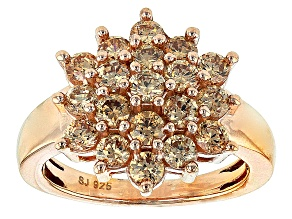 Pre-Owned Brown Cubic Zirconia 18k Rose Gold Over Silver Ring 3.72ctw
