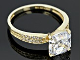 Cubic Zirconia Ring 10k Yellow Gold 5.36ctw