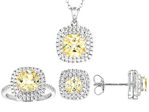 Yellow And White Cubic Zirconia Rhodium Over Sterling Silver Jewelry Set 11.10ctw