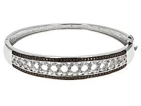 Pre-Owned Black And White Diamond Rhodium Over Brass Bracelet .50ctw