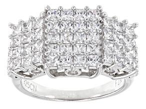 Pre-Owned White Cubic Zirconia Rhodium Over Sterling Silver Ring 4.88ctw