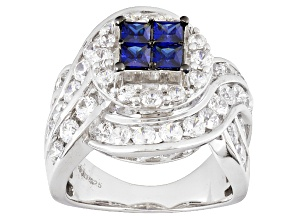 Pre-Owned Blue And White Cubic Zirconia Silver Ring 5.87ctw