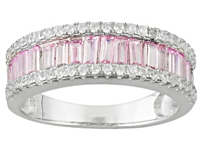 Pink And White Cubic Zirconia Rhodium Over Silver Ring 2.34ctw