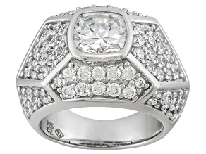 Womens Pave Cocktail Ring White Cubic Zirconia 9ctw Sterling Silver
