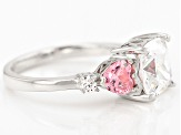 Pre-Owned Pink And White Cubic Zirconia Rhodium Over Sterling Silver Ring 6.92ctw