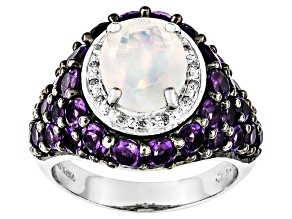Pre-Owned Ethiopian Opal, Amethyst And White Diamond Sterling Silver Ring