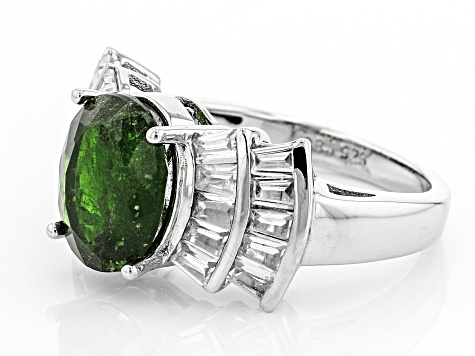Pre-Owned Green Chrome Diopside Sterling Silver Ring 5.72ctw