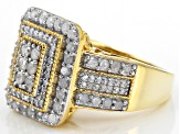 Pre-Owned White Diamond 14k Yellow Gold Over Sterling Silver Ring 1.25ctw