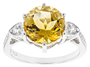 Yellow Brazilian Citrine Sterling Silver Ring 3.58ctw