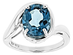London Blue Topaz Sterling Silver Ring 3.85ct