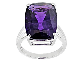 Pre-Owned Purple Amethyst Sterling Silver Solitaire Ring 9.78ct