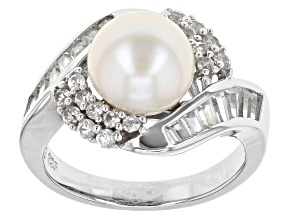 Cultured Freshwater Pearl With Zircon Rhodium Over Silver Ring 9-9.5mm