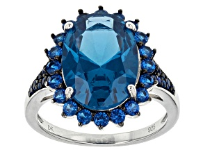 Pre-Owned Blue Lab Created Spinel Sterling Silver Ring 6.39ctw