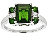 Pre-Owned 2.80ctw Emerald Cut And Round Russian Chrome Diopside And .21ctw White Zircon Silver Ring