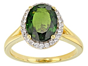 Pre-Owned Green Chrome Diopside 18k Yellow Gold Over Sterling Silver Ring 2.89ctw.