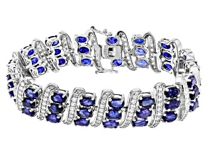 Blue Sapphire Sterling Silver Bracelet 34.00ctw
