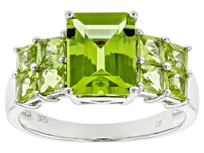 Pre-Owned Green Peridot Sterling Silver Ring 3.20ctw