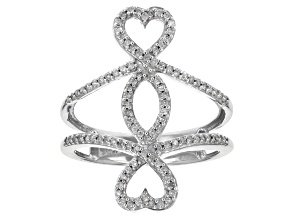 Pre-Owned .30ctw Round Diamond 14k White Gold Double Heart Ring