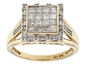 White Diamond 10k Yellow Gold Ring .80ctw
