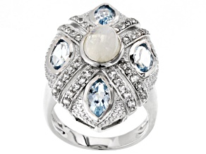 Pre-Owned White Rainbow Moonstone Sterling Silver Ring. 3.38ctw