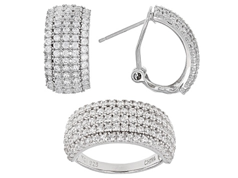 1dd66b2b5 White Cubic Zirconia Rhodium Over Sterling Silver Ring And Earrings 5.38ctw  - PRE30468 | JTV.com
