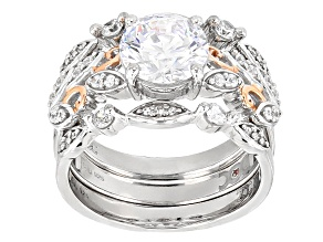 White Cubic Zirconia Rhodium Over Silver & 18k Rose Gold Over Silver Ring W/Bands 4.21ctw