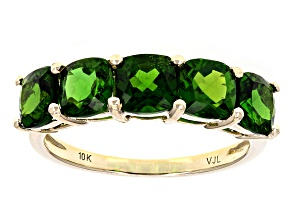 Green Chrome Diopside 10k Yellow Gold Band Ring 2.85ctw