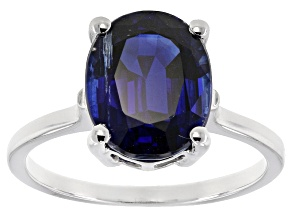 Blue Kyanite Sterling Silver Solitaire Ring 4.45ctw