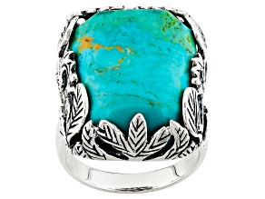 Pre-Owned Blue Turquoise Sterling Silver Soitaire Ring
