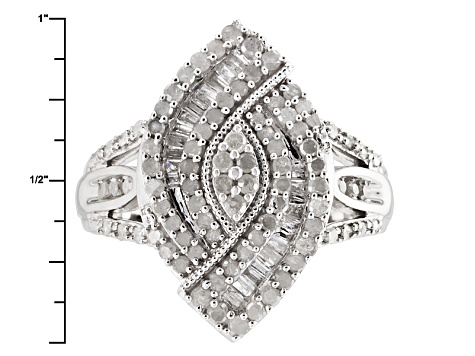 Pre-Owned Diamond Rhodium Over Sterling Silver Ring 1.01ctw