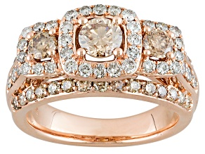 Champagne And White Diamond 2.00ctw 10k Rose Gold Ring