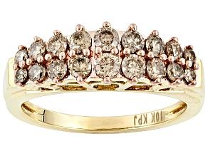 Womens 2-Row Pyramid Band Ring Champagne Diamond 1ctw 10k Yellow Gold