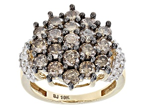 Champagne And White Diamond 10k Yellow Gold Ring 2.75ctw