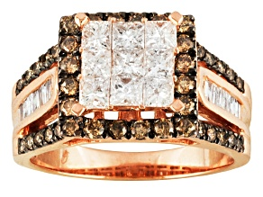Brown And White Diamond 10k Rose Gold Ring 2.00ctw