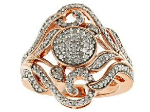 Pre-Owned 18k Rose Gold Over Silver Diamond Ring .75ctw