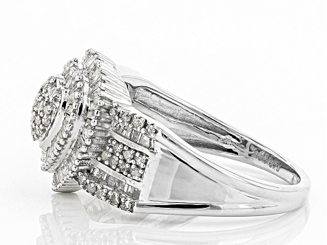 Pre-Owned White Diamond Rhodium Over Sterling Silver Ring .75ctw