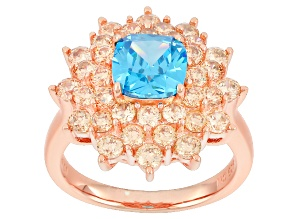 Pre-Owned blue and brown cubic zirconia 18k rose gold over sterling silver ring 5.03ctw