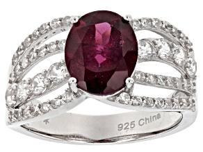 Pre-Owned Purple rhodolite sterling silver ring 3.82ctw